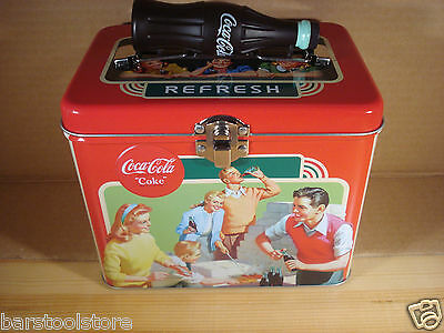 Coca-Cola Metal Lunch Box W/ Coke Bottle Handle B