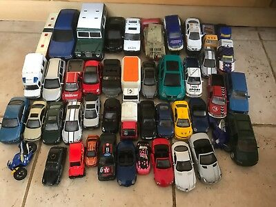 JOB LOT 50x TOY CARS MERCEDES LAND ROVER FORD JAGUAR +TRAILERS +BUS