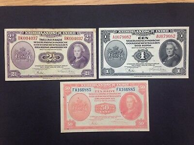NETHERLANDS INDIES (3 Notes)  50 cents, 1 and 2 1/2 Gulden