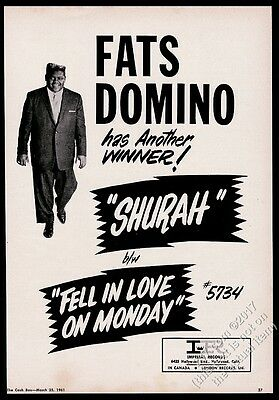 1961 Fats Domino photo Fell In Love On Monday record release trade print ad