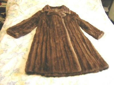 1960's Ladies Mink Full Length Coat with Half Belt Small