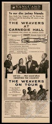 1957 The Weavers photo At Carnegie Hall record release trade print ad