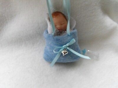 OOAK handmade miniature sulpt  5 cm clay baby blue   doll  1/12th  by Carol