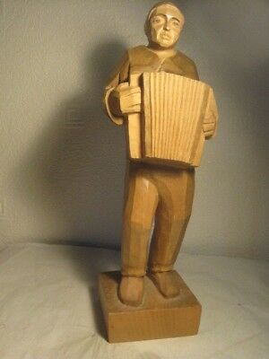 Imposing  Hand Carved Treen Figure With Accordion Marked Brienz 2003, 34Cm