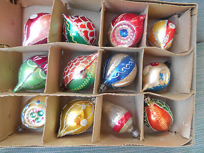 Lot of 12  Vintage Oblong Blown Glass  Christmas Tree Ornaments--Mica/Glitter
