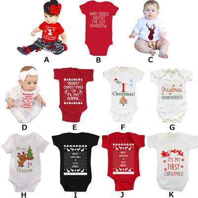 My First Christmas Baby Romper 1st Xmas Santa Bodysuit Jumpsuit Boy Girl Clothes