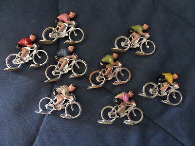 figurine cycliste, plastique,LOT DE 8 CYCLIST FIGURE TOUR DE FRANCE