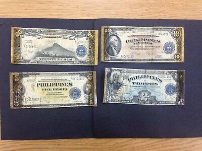 PHILIPPINES  (4 Notes)  2,5,10,20 Pesos 1944 -Victory Series-  Short Snorter