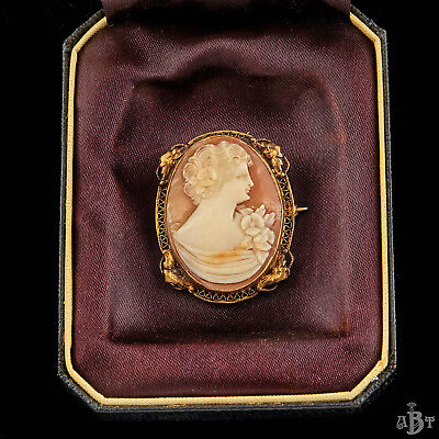 Antique Vintage Art Nouveau 14k Gold Filled Filigree Grand Tour Cameo Brooch Pin