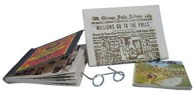 Dolls House Miniatures:  Newspaper, Magazines & Spectacles Set : in 12th scale