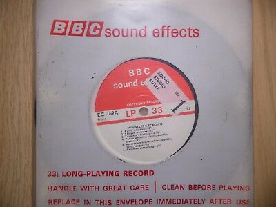 """BBC Sound Effects 7"""" Record - Whistles, Screams & Crying, EC169A"""