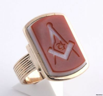 Blue Lodge Victorian Ring Genuine Sardonyx Intaglio - 14k Gold Masons Masonic
