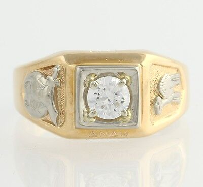Cubic Zirconia Shriners Ring - 14k Yellow & White Gold Band Anah Temple 13.4g