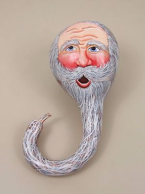 Hand Painted Gourd. Bearded Man.