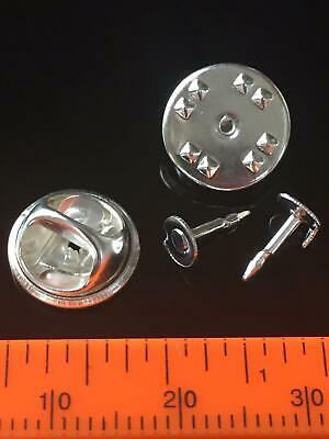 ✿ Blank Silver Brooch Tie Pins Findings Pinch Badge Pinch Tac Pads - UK STOCK -