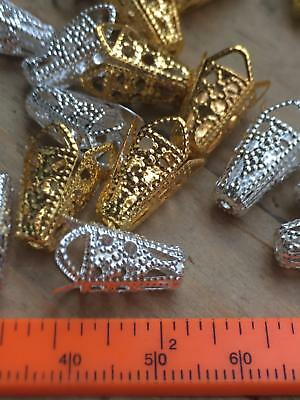 ✿ 20 Filigree Flower Bead Caps Cones Bright Silver Gold - UK Stock Free Postage✿