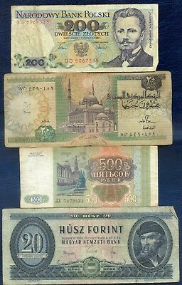 USED WORLD BANKNOTES x 4 ~ Poland, Egypt, Russia, Hungary