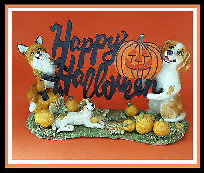 Sonnett Original Ceramic Sculpture FOX, Hound & JRT Happy Halloween Decoration!
