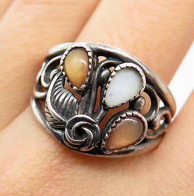 Southwestern Old Pawn 925 Sterling Silver Mother of Pearl Openwork Tribal Ring