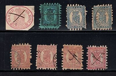 Finland, 8 Early Postally Used Classic Stamps, Circa 1856-74. Sc#2, 7, 9 & 10