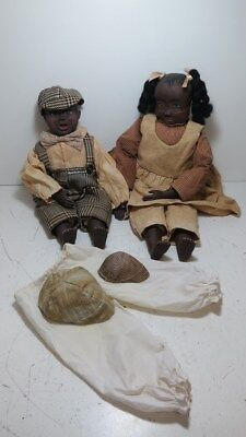 """Lot of 2 Maynard Arnett Country Store Dolls 19"""" and 23"""" w/Extra Hats, Bloomers"""