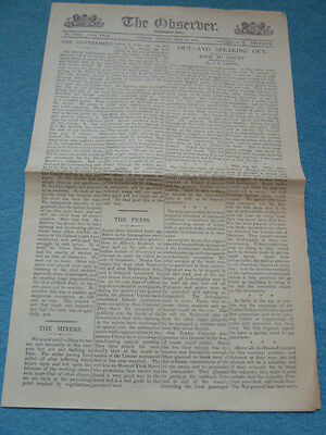 THE OBSERVER, 16th May 1926, 4 page General Strike issue, newspaper