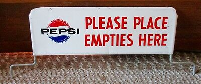"1960s PEPSI-COLA ""Please Put Empties Here"" DISPLAY RACK SIGN....NICE!"