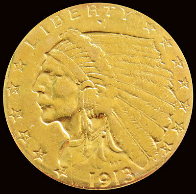 1913 Gold United States $2.5 Dollar Indian Head Quarter Eagle Coin About UNC.