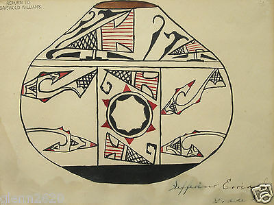 Vintage Zuni Child Drawing Pot Native American Indian New Mexico Southwest