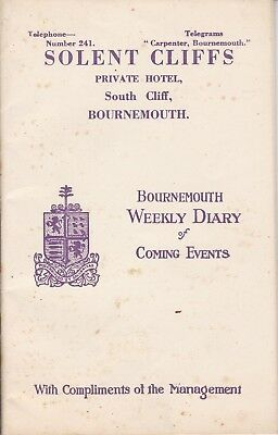 Bournemouth 1928 Solent Cliffs Hotel - Weekly Diary Of Coming Events
