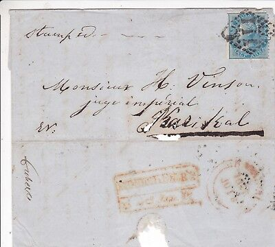 India - Pondicherry Qv ½A Franked Large Part Letter
