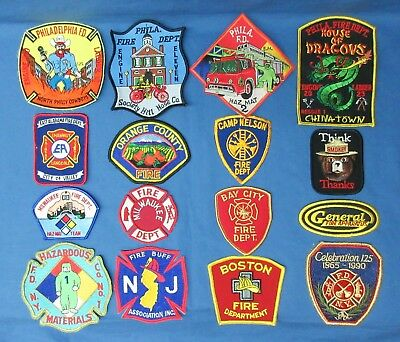 Lot Of 16 Fire Department Patches Us. Pa., Al., Wi., Ny., Nj.,ma., Etc.