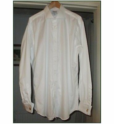 T M LEWIN MENS 100% COTTON SHIRT, TWILL WEAVE, DOUBLE CUFFS, SLIM FIT, 17in