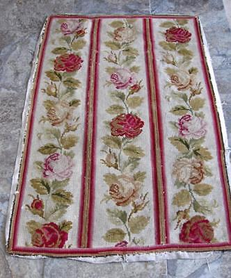 Attractive Antique Woolwork Tapestry-Gros Point 53 inches by 34&1/2 inches.