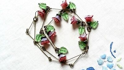 Czeh Bluish And Maroon Glass Flower Bead Necklace Vintage Deco Style