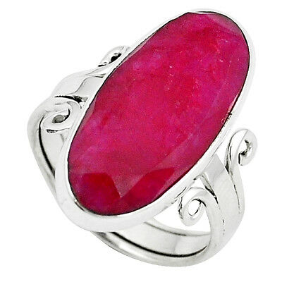 Natural Red Ruby 925 Sterling Silver Ring Jewelry Size 8 K67173
