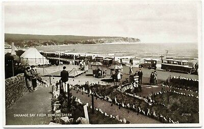 EARLY POSTCARD . SWANAGE BAY FROM BOWLING GREEN . DORSET . c1932