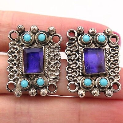 Signed Mexico Sterling Silver Amethyst w/ Turquoise Gemstone Designer Earrings