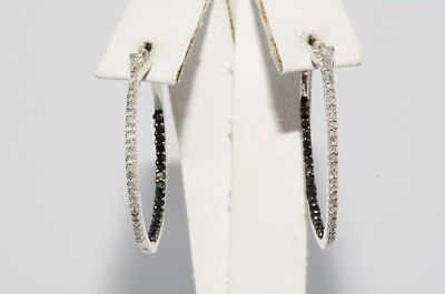 $1,500 .80Ct Round Cut Black & White Diamond In & Out Hoop Earrings .925 Silver