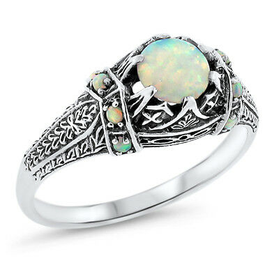 White Lab Opal Antique Victorian Design 925 Sterling Silver Ring Size 5,    #643