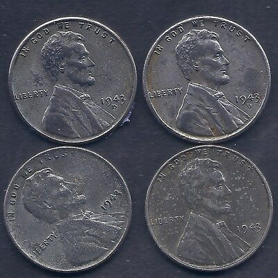 US 1943 Lincoln Steel Wheat penny Coin Lot of four WW2 Era coins