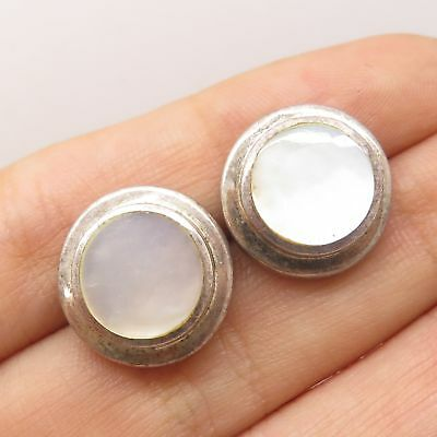 Vtg 925 Sterling Silver Real Mother-Of-Pearl Round Earrings