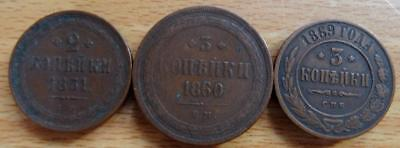 Russia 1851 – 1869 3 x 2 and 3 kopeks coins