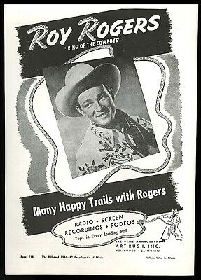 1946 Roy Rogers photo music trade booking print ad