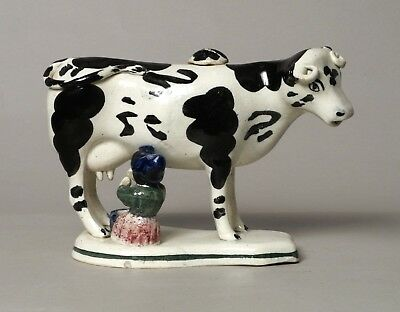 A Wonderful Very Rare Antique Scottish Pearlware Pottery Cow Creamer