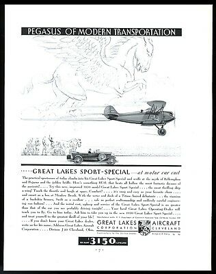 1930 Pegasus flying horse art Great Lakes Aircraft plane vintage print ad