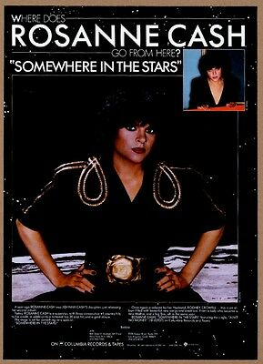 1982 Roseanne Cash photo Somewhere In The Stars album release vintage print ad