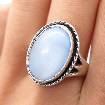 Southwestern Old Pawn 925 Sterling Silver Chalcedony Handcrafted Tribal Ring
