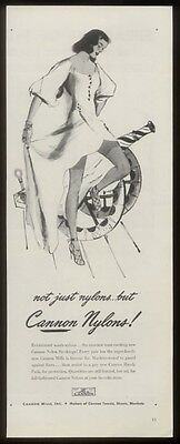 1946 Cannon Nylons stockings woman & cannon art ad
