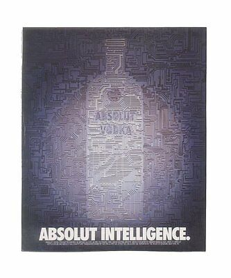 1990 Absolut Intelligence computer circuit vodka bottle art ad